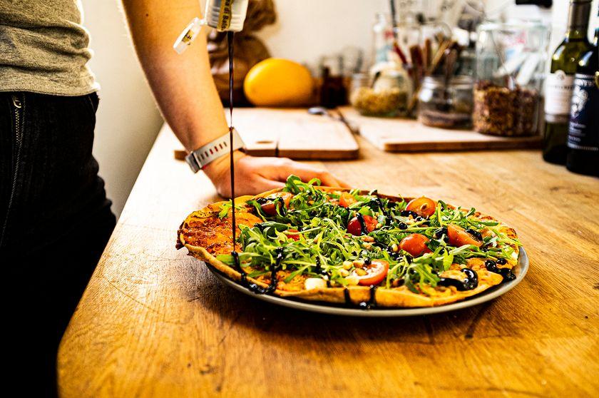 Vegetarisk pizza på Kullamust