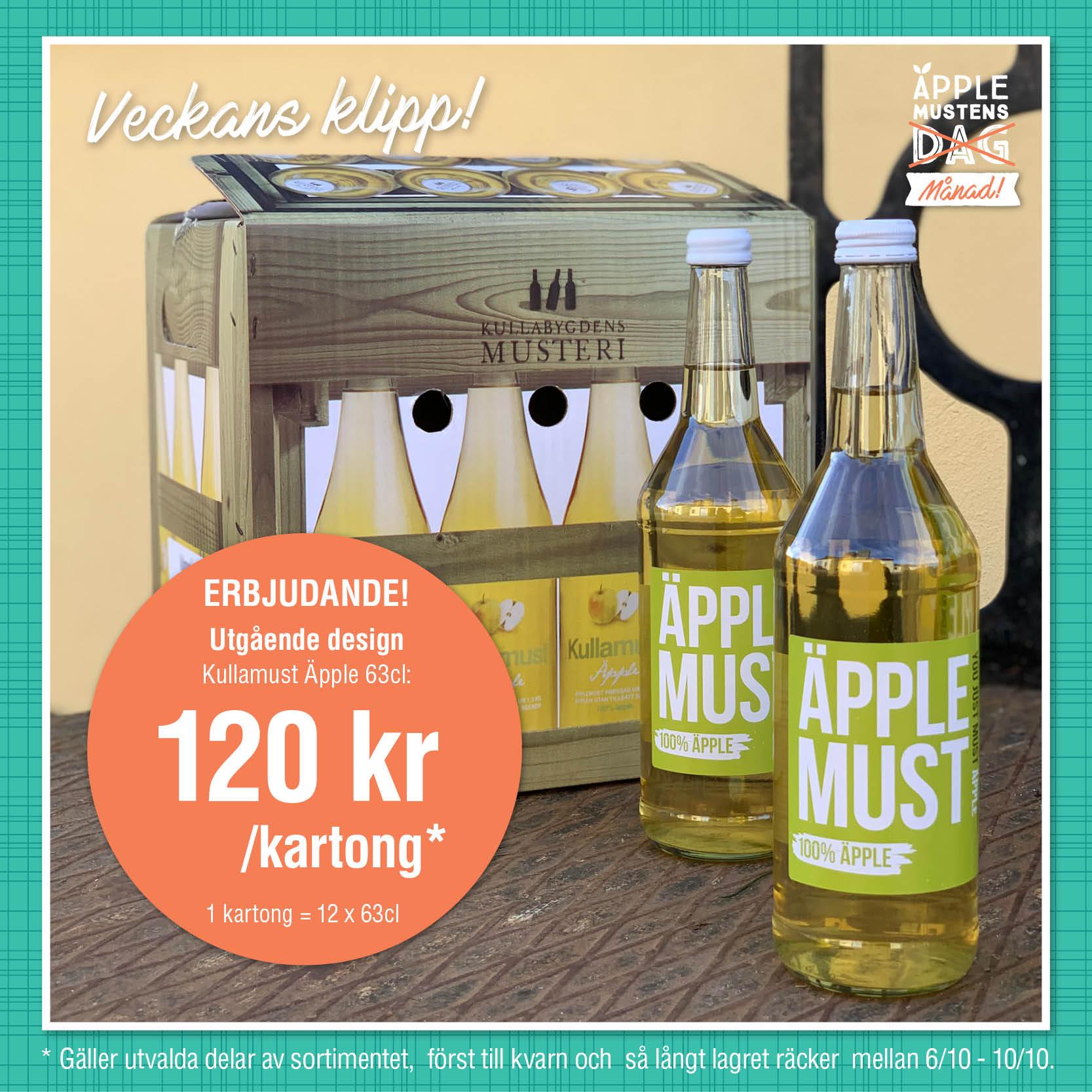 Erbjudandet vecka 40 (6-10 okt) är som följer: - 1 st kartong Kullamust Äpple (utgående design, 12x630ml) för 120 kr!